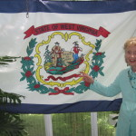 Dr. Helen Harkness in 2013 with her West Virginia Flag